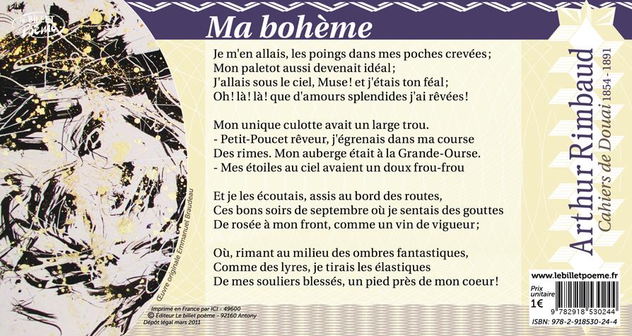 Billet N25 Ma Bohème Darthur Rimbaud Le Billet Poème