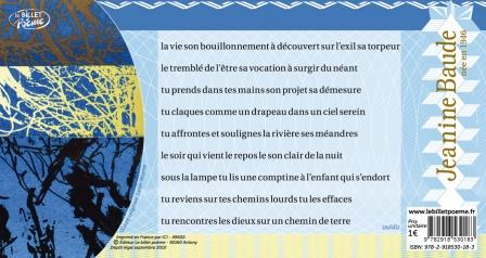 Texte intégral du poème inédit  Jeanine Baude : 'la vie son bouillonnement...)