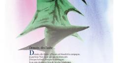 'demain dès l'aube...' de Victor Hugo accompagné d'un détail de l'aquarelle de Christophe Vigouroux